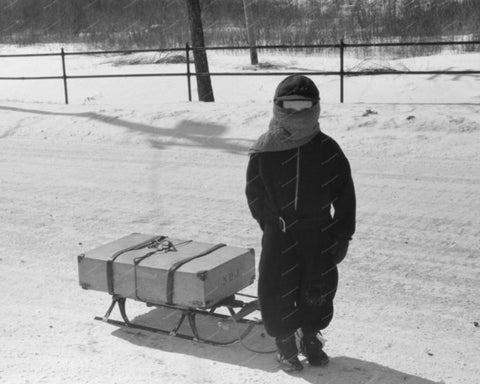 Suitcase In Snow 1939 Vintage 8x10 Reprint Of Old Photo 2 - Photoseeum