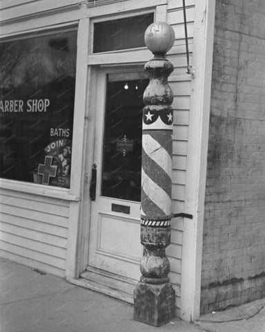 Wooden Barber Pole Shop Vintage 8x10 Reprint Of Old Photo