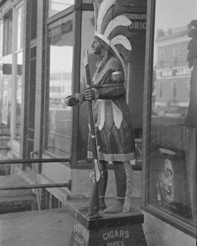 Wooden Indian Cigar Statue 1936 8x10 Reprint Of Old Photo