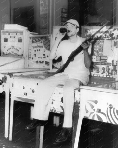 Cuban Soldier Sitting On Pinball Machine 8x10 Reprint Of Old Photo