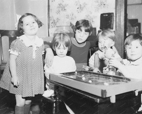 Kids Playing Bagatelle Pinball Machine 8x10 Reprint Of Old Photo