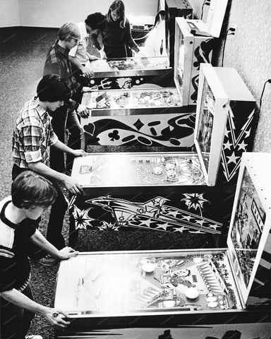 Kids Playing Pinball Machines In Arcade 1970s 8x10 Reprint Of Old Photo 2