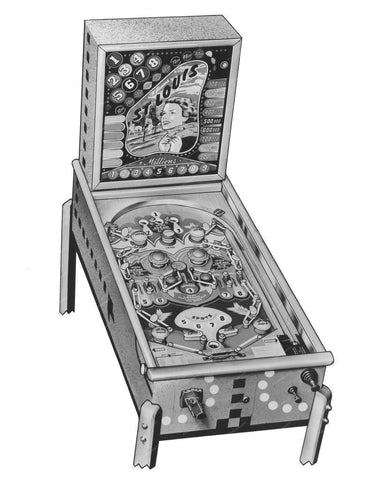 Williams St Louis Pinball Machine 1949 8x10 Reprint Of Old Photo