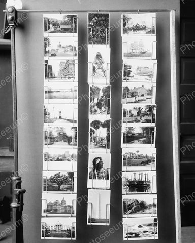 Postcard Sellers Rack 1910 Vintage 8x10 Reprint Of Old Photo