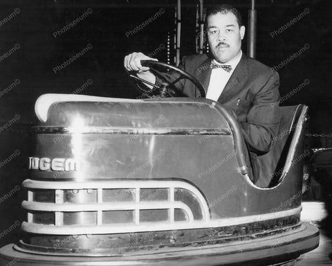 Bumper Car Dogem Riden by the Brown Bomber 1950s 8x10 Reprint Of Old Photo