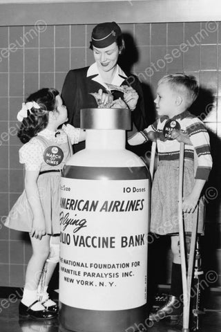 American Airlines Stewardess Vaccine Bank 4x6 Reprint Of Old Photo - Photoseeum