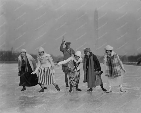 Five Girls Ice Skating Race Vintage 8x10 Reprint Of Old Photo