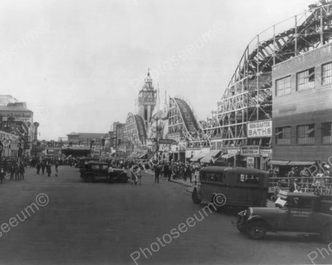 Coney Island Roller Coaster Scene 8x10 Reprint Of Old Photo - Photoseeum