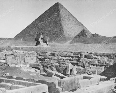 Ancient Egypt Pyramid & Sphinx 8x10 Reprint Of Old  Photo