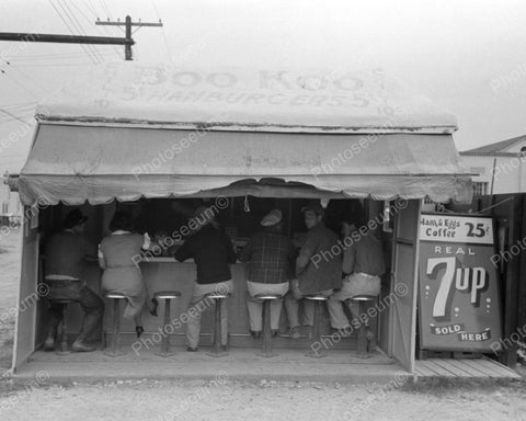 Boo Koo 5 Cent Hamburger Tent 1940's Vintage 8x10 Reprint Of Old Photo