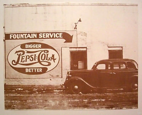 Fountain Service Pepsi Cola Vintage Sepia Card Stock Photo 1940s