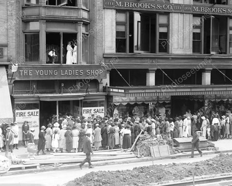 Young Ladies Shop Fire Sale Crowd Waits! 8x10 Reprint Of Old Photo