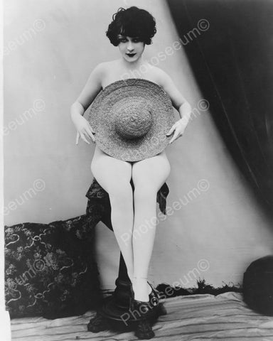 Lady Poses Nude With Hat! 1900s 8x10 Reprint Of Old Photo
