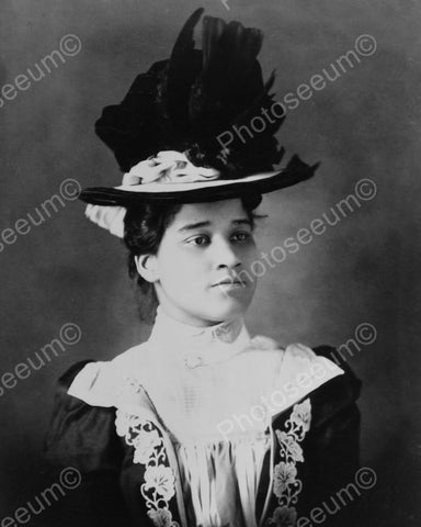 Black Lady In Victorian Hat 1800s 8x10 Reprint Of Old Photo - Photoseeum