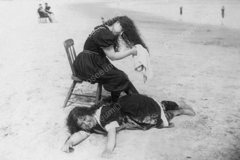 Victorian Girl Dries Long Locks At Beach 4x6 Reprint Of Old Photo