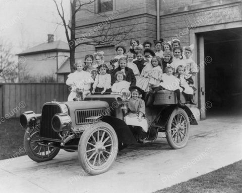 Antique Pope Toledo Car With Young Girls 8x10 Reprint Of Old Photo