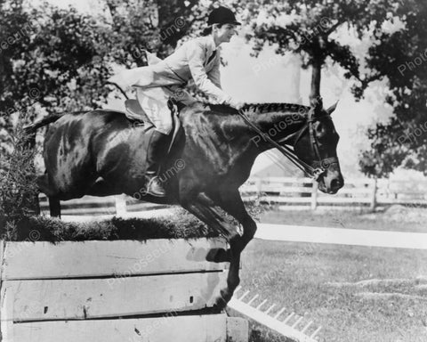 Jackie Kennedy US First Lady Jumps Horse Vintage 1960s Reprint 8x10 Old Photo