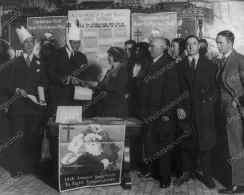 Babe Ruth Promoting Christmas Seals 1921 Vintage 8x10 Reprint Of Old Photo - Photoseeum
