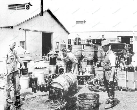 Deputies Dumping Illegal Booze 1932 Vintage 8x10 Reprint Of Old Photo