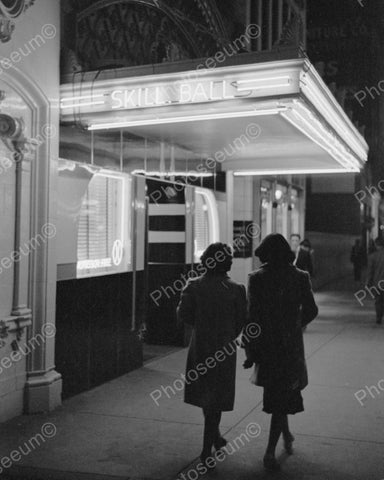 Arcade Neon Skill Ball 1939 Vintage 8x10 Reprint Of Old Photo