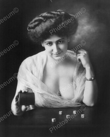 Victorian Sexy Lady Plays Craps Vintage 8x10 Reprint Of Old Photo