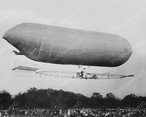 Baldwin Balloon Dirigible In Air 1900s 8x10 Reprint Of Old Photo - Photoseeum