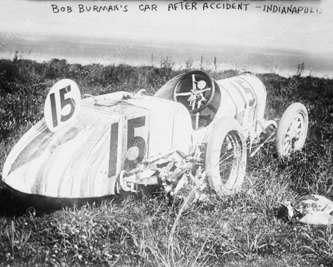 Bob Burman's Car After Accident Indianapolis 8x10 Reprint Of Old Photo