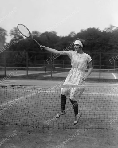 Young Woman Playing Tennis 1925 Vintage 8x10 Reprint Of Old Photo