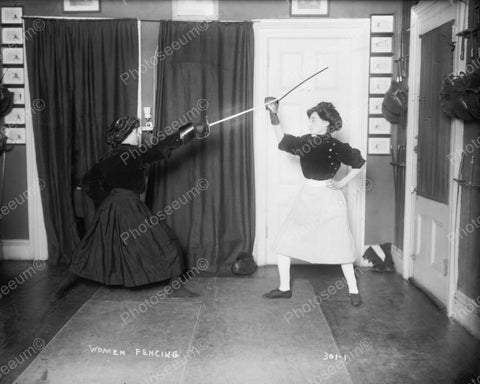 Women Fencing Vintage 8x10 Reprint Of Old Photo