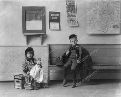 Little Boy & Girl With Doll Wait For Bus 8x10 Reprint Of Old Photo