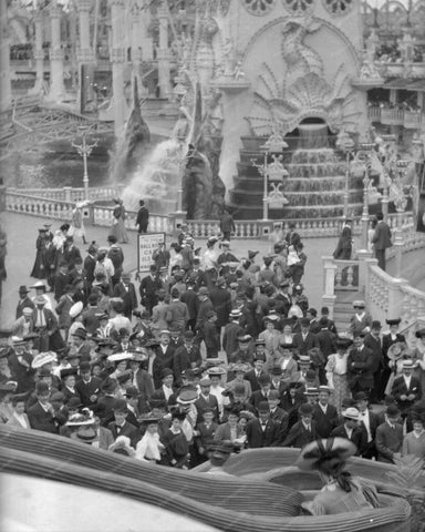 Coney Island People Watching Slide Ride Luna Park  8x10 Reprint Of Old  Photo