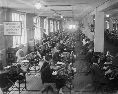 Computing Division 1924 Vintage 8x10 Reprint Of Old Photo - Photoseeum