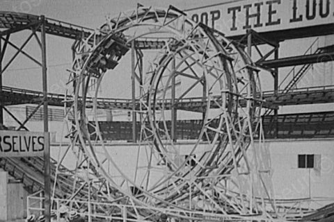 Coney Island loop the loop Coaster Ride 4x6 Reprint Of Old Photo