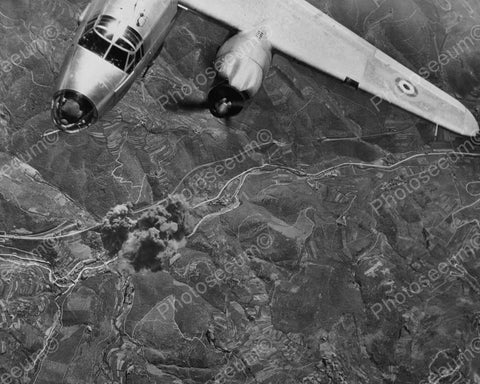 Aerial View Of Fighter Plane Bomb Drop! 8x10 Reprint Of Old Photo