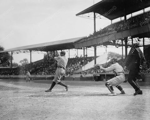 Babe Ruth At Bat & Garret Catching 1920 Vintage  8x10 Reprint Of Old Photo