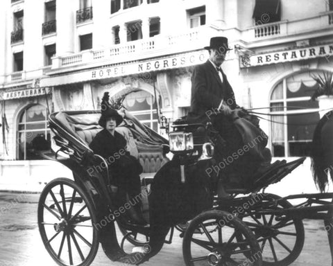 Woman In Carriage At Hotel Negresco 8x10 Reprint Of Old Photo