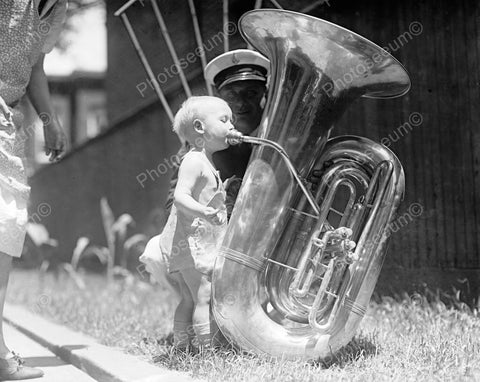Adorable Baby Tot Blows Into Big Tuba Vintage 8x10 Reprint Of Old Photo - Photoseeum