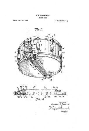 USA Patent Rogers Snare Drum 1960's Drawings