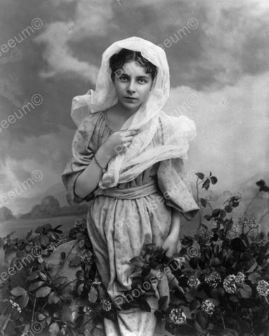 Lady Poses In Flower Patch Vintage 8x10 Reprint Of Old Photo