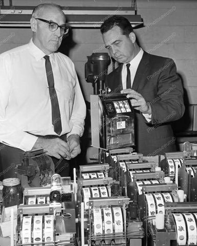 Agents Examine Slot Machines Vintage 8x10 Reprint Of Old Photo