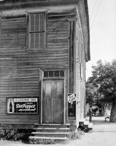 AJ Coleman General Store Dr Pepper Sign 1937 Vintage 8x10 Reprint Of Old Photo - Photoseeum