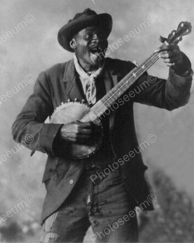 Happy John Black Plays Banjo 1890s 8x10 Reprint Of Old Photo
