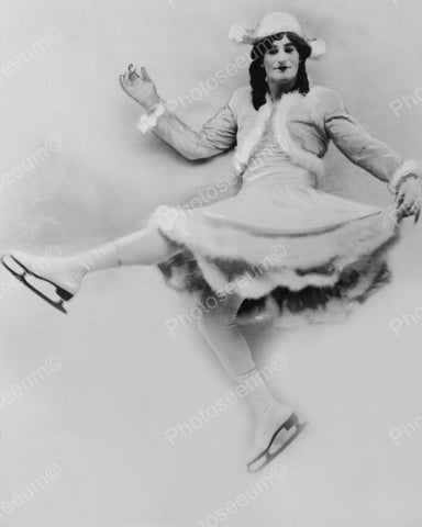 Fred Stoneasa As Female Ice Skater 1930 Vintage 8x10 Reprint Of Old Photo
