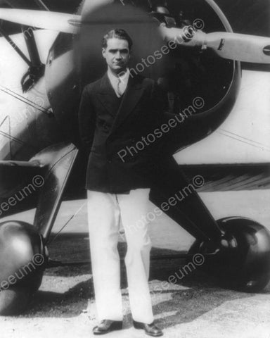 Howard Hughes In Front Of Airplane 8x10 Reprint Of Old Photo