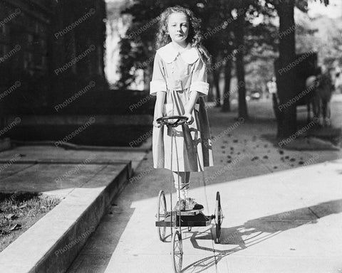 Young Girl Riding Antique Tricycle 1920 Vintage 8x10 Reprint Of Old Photo