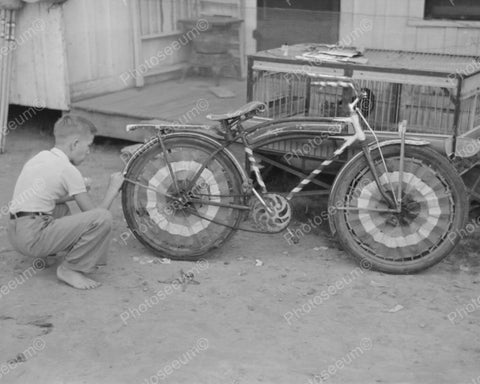 Boy Dressing Up Bicycle 1938 Vintage 8x10 Reprint Of Old Photo - Photoseeum