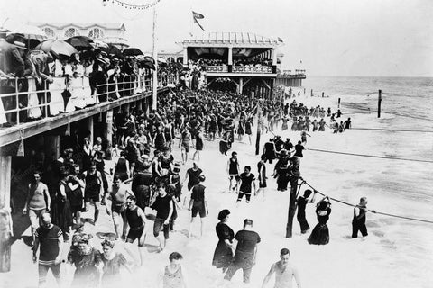Asbury Park NJ Beach By Boardwalk 1920s 4x6 Reprint Of Old Photo