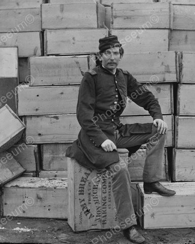 Civil War Soldier Sitting On Army Bread 1863 Vintage 8x10 Reprint Of Old Photo