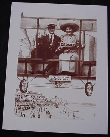 Cedar Point Amusement Park Arcade Ride Sepia Card Stock Photo 1920s