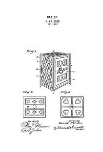 USA Patent Frisbie Safe Bank 1890's Drawings